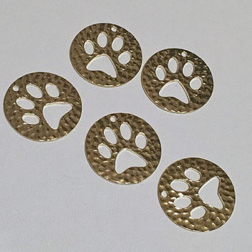 10 pcs Paw Print Golden Pendant - Necklace Jewelry Making Supplies - Gold colored Hammered Metal - cat dog bear cub