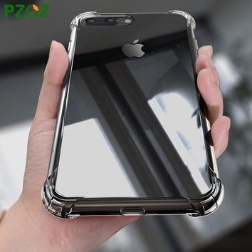PZOZ For iphone7 Case Silicone Cover For iphone 7 Plus Transparent Color Shockproof Phone Protection Soft Shell For i Phone 8