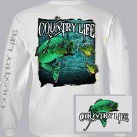Country Life Outfitters Bass Fishing Vintage Unisex White Long Sleeve Bright T Shirt