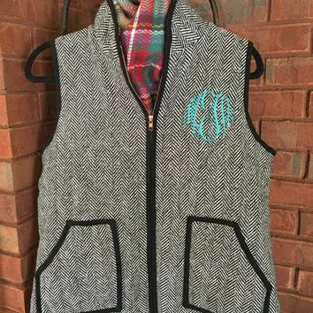 Monogrammed Herringbone Black and White Vest