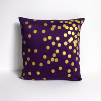 Purple and Gold Scattered Circles pillow FREE SHIPPING