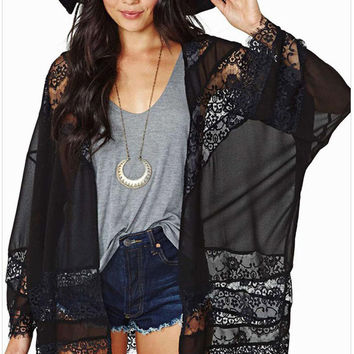 Zkess Summer Style Blouse Quimono Sheer Black Beach Sun Protection Wrap Lace Chiffon Long sleeve Transparent Bikini loose sexy Kimono Cardigan Casual Blusa Feminina Cover-Up 41160