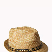 FOREVER 21 Studded Straw Fedora Natural/Multi Med/Lg