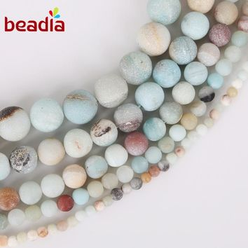 AAA+ Dull Polish Matte Frosted Beads Natural Amazon Stone 4 6 8 10 12mm Beads Loose Spacer Strand 15'' Women Fashion Jewelry