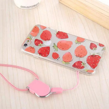 Original Strawberry Sling iPhone 5s 6 6s Plus creative case Cover Gift-111