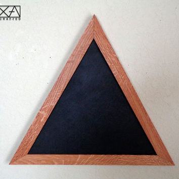 "SINGLE 19"" Triangle Reclaimed Chalkboard, Geometric Wood Chalkboard, Wooden Chalkboard, Kitchen Board, blackboard, Geometric wall art"