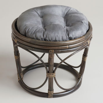 Charcoal Microsuede Papasan Stool Cushion - World Market