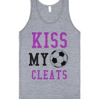 Kiss my Cleats Soccer tank top tee t shirt-Athletic Grey Tank