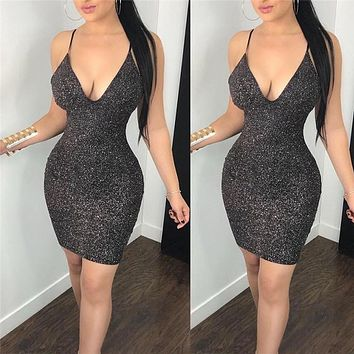 New Fashion Sexy Women Bodycon Mini Dress Sleeveless V Neck Summer Hot Club Wear Short Mini Dress Party Pencil Dress