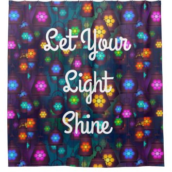 Shower Curtain Colorful Lights Hanging Lanterns