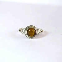 tiger eye stone ring, silver ring,  silver tiger eye ring, stone ring, 92.5 sterling silver, Natural tiger eye stone Silver Ring,RNSL12