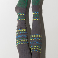 Fair Isle Thigh High Socks Scandinavian Pattern
