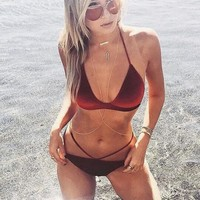 Sexy velvet pure wine red halter bottom side open two piece bikini swimsuit