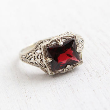 Vintage 10k White Gold Filigree Garnet Ring - Antique Size 7 Art Deco 1920s Crimson Red Gemstone Ring