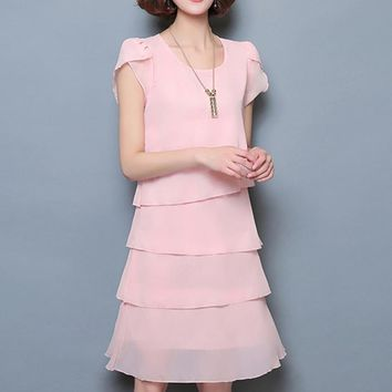 Chiffon Ruffles Elegant Ladies Party Cocktail Mini  Dress