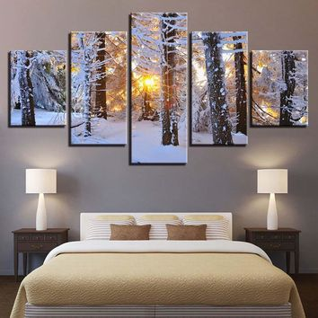 Sunrise Forest Woods Snow Snowfield Winter Scene Wall Art Panel Canvas Print