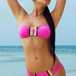 Pink Embellished Bikini with Removable Straps