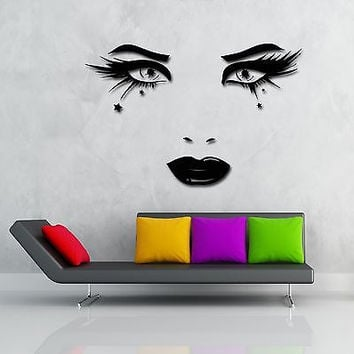 Wall Stickers Vinyl Decal Beatiful Eyes Long Lashes Full Lips (z1921)