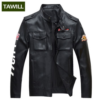 New Arrival Bomber Motorcycle Military PU Leather Jackets Men Air force one Spring Autumn Fall Brand Clothing