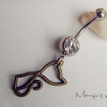 Cute Cat Belly Button Jewelry Ring- Crystal Belly Ring- Bronze Cat Charm Dangle Navel Piercing Bar Barbell- B052