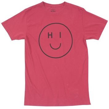 HI Smiley red graphic tee