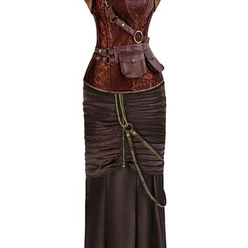 Atomic Brown Vampire Steampunk Corset and Skirt Set