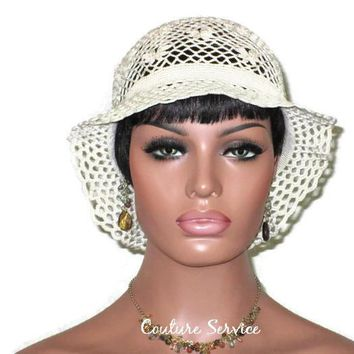 Handmade Crocheted Lace Brimmed Hat, Natural