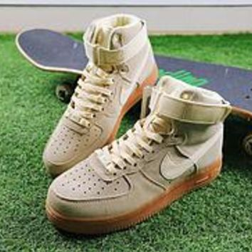 Nike Air Force 1 High 07 LV8 Suede Beige color raw rubber AF1 Women Men Skateboarding Causel Sports Sneaker Shoes