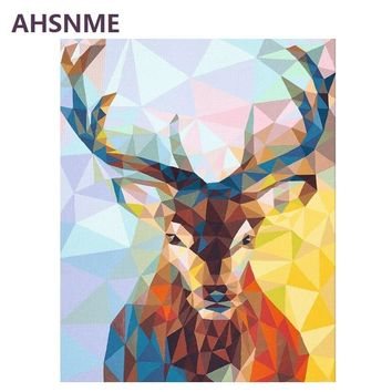 AHSNME Semi-finished Geometric Deer Diy Oil Painting By Numbers Kits Wall Art Picture Home Decor Children's drawing learning kit