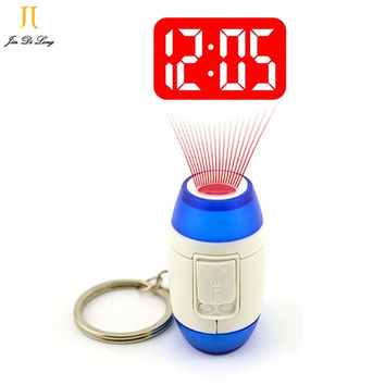 2017 Mini LED Projector Clock Luminous Watches & Clocks Plastic Flashlight Clock Electronic Movement Projection Clock Keychain