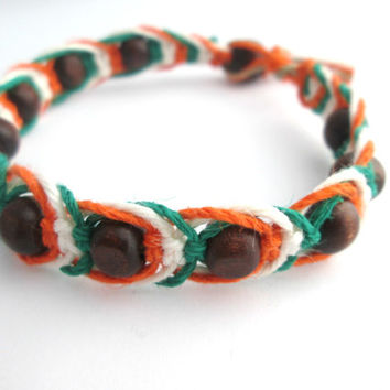 Beaded Hemp Bracelet St. Patricks Day Wood Bead Irish Bracelet Hemp Jewelry
