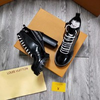 LV Louis Vuitton Women leather black Heels Shoes Boots 2019 knight boot Winter