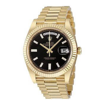 Rolex Oyster Perpetual 18K Yellow Gold Diamond Mens Automatic President Watch 228238BKDP