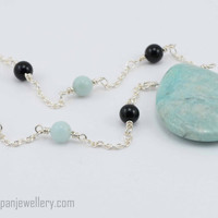 Amazonite drop necklace - amazonite, black onyx, gemstone, sterling silver, handmade, one of a kind, aquamarine, black, sea green