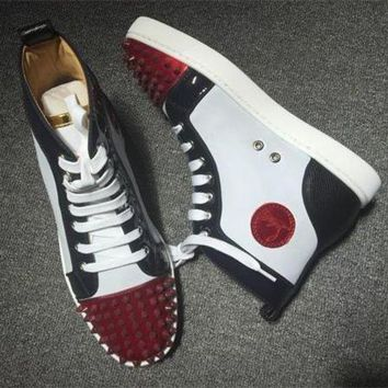 DCCK Cl Christian Louboutin Lou Spikes Style #2209 Sneakers Fashion Shoes