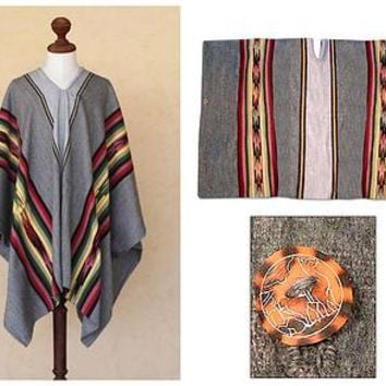 Men's Alpaca Wool Blend Patterned Poncho - Rainbow Mist | NOVICA
