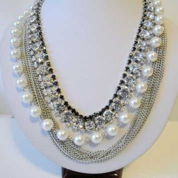 Silver Statement Multi Strand Necklaces, Big Chunky Necklaces, Pearl Statement Necklace, Rhinestone and Pearl Necklace, Black Rhinestone