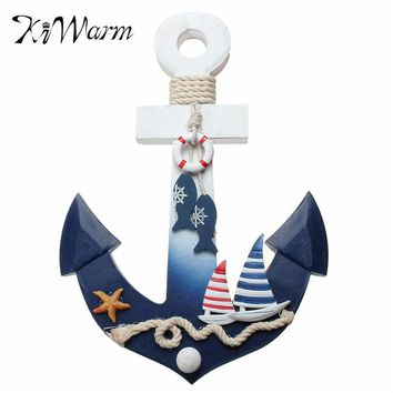 KiWarm Mediterranean style Wooden Nautical Anchor House Shop Decoration Crafts Wall Hanging Hook Life Buoy Fish Star Home Decor