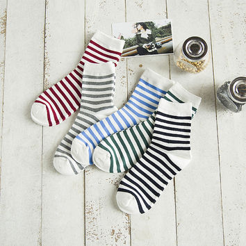 Vintage Striped Cotton Socks