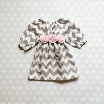 Gray Chevron Dress - Baby Girl Dress - Baby Girl Dresses - Girls Dresses - Girls Chevron Dresses - Gray Chevron Dresses - Baby Shower Gift