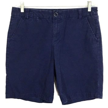 Khakis By Gap Boyfriend Roll Up Navy Uniform Blue Bermuda Shorts Womens 04 - Preowned