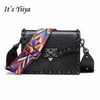 It's YiiYa Hot 5 Colors Women Genuine Leather HandBag Fashion Casual Colorful Belt Cool Rivet Girls Messenger Bags SS904