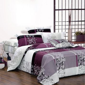 USA Russian Europe Size Bedding Sets Soft Duvet Cover Set Purple Quilt Cover Luxury Bedding Bedclothes Queen Double Customized