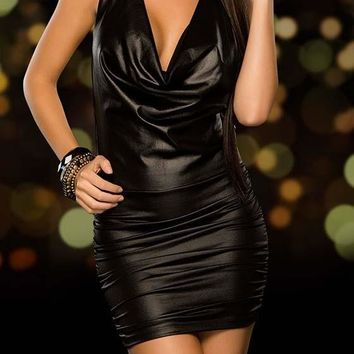 Black Ruffle Backless V-neck PU Leather Mini Dress