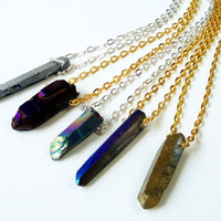 Titanium Crystal Quartz Spikes Edgy Necklace,Purple, Blue, Gold Mystic Spikes Quartz Necklace