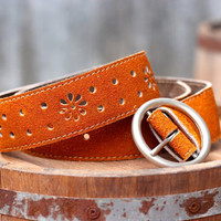 Free Shipping - Leather Belt - Women's Leather Belt - in ORANGE