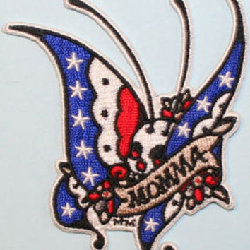Mickey Martin Patriotic Momma Butterfly Skull Embroidered Iron On Applique Patch