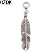 PD19 Big Size Leaf 10X40mm Charms European Beads Fits Silver Charm pandora Bracelets necklaces pendant