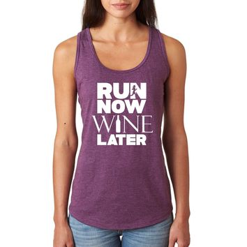 Run now Wine later cute ladies workout tank top