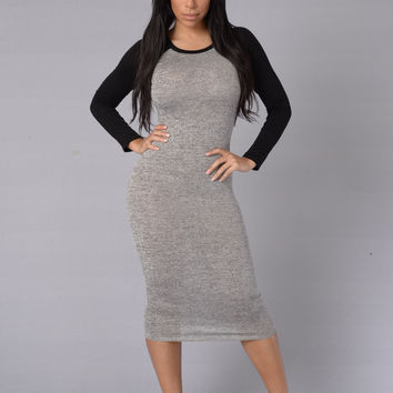 Tee Time Dress-Grey